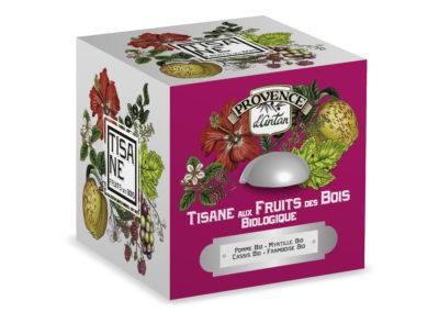 BOITE METAL TISANE FRUITS DES BOIS CUBE - PRCM011